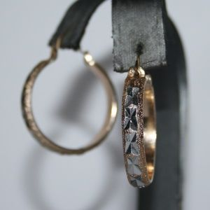 Beautiful vintage silver and gold hoop earrings